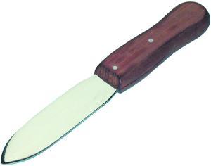 Kittmesser mit 95 mm langer und 26 mm breiter, hochglanz polierter Klinge, mit braunem Holzheft