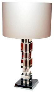 Leuchte Solid Cubes, Höhe 350mm, Fuß Ø 130 mm mit beigem Lampenschirm #